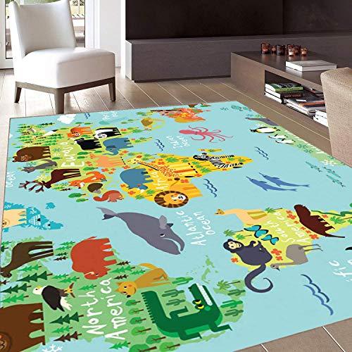 Rug,FloorMatRug,Wanderlust,AreaRug,Animal Map of The World for Children Kids Cartoon Mountains Forests,Home mat,2