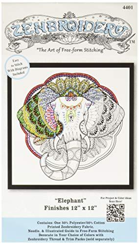 "Design Works Crafts 4401 Elephant Zenbroidery Kit, 12"" x 12"", Various"