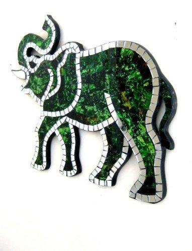 Elephant Statue Wall Hanging Decor Mosaic Mirror Elephant Statue Good Luck Fortune- OMA BRAND - Lucky Elephant Art Glass