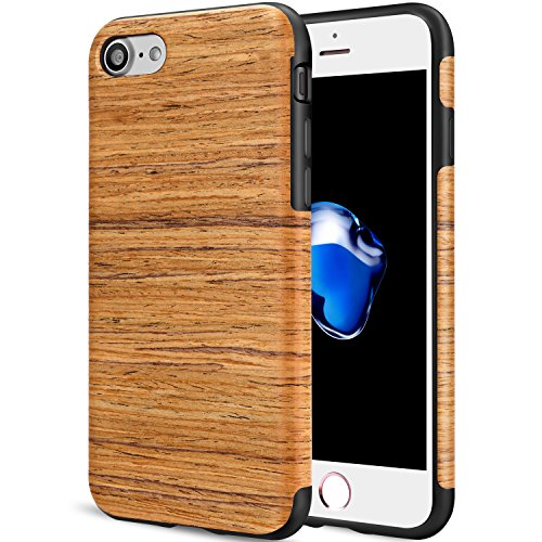 TENDLIN iPhone 8 Case Easy Grip Wood Grain Back Soft TPU Silicone Hybrid Slim Case for iphone 7 and iPhone 8 (Santos Rose Wood) - Wood Look Santa