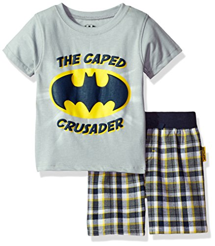 Warner Brothers Baby Boys' 2 Piece Batman Tee and Plaid Short Set, Grey, -