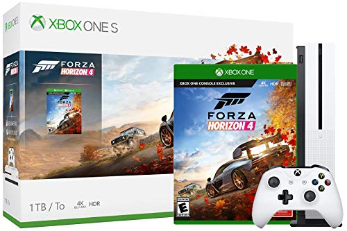 Microsoft Xbox One S Forza Horizon 4 Bundle: Forza Horizon 4 – Dynamic Seasons, Open World and Xbox One S Console 1TB with Wireless Controller – Robot White