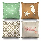 Decorative Pillows Case Cushion Cover 18'' x 18'' Set of 4,Green Seashells Starfish Beach House Seahorse Cocoa Brown And Beige Geometric Nautical Shell Decorative Home Decor Nice Gift
