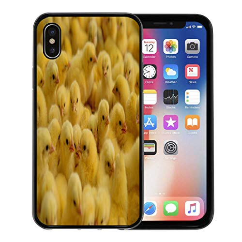 (Semtomn Phone Case for Apple iPhone Xs case,Yellow Baby Lot of Little Chickens in Farm Poultry Hatchery Hen for iPhone X Case,Rubber Border Protective Case,Black)