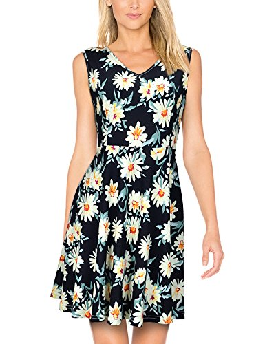 Elywish Women's Summer Casual Fit and Flare Sundress Floral Party Skater Dress