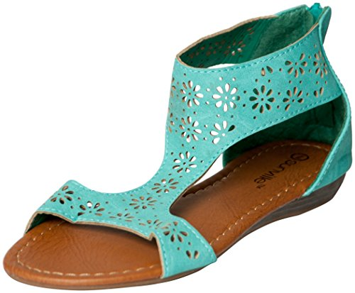 Womens Roman Gladiator Perforated Sandals Flats 3 Colors (9, Mint 81001) (Shoes Roman Sandals)