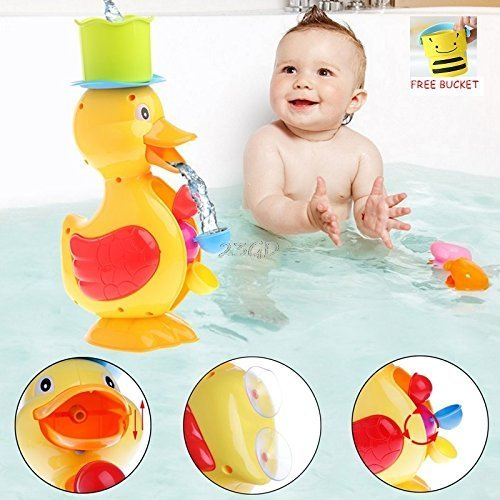 Elite Enfant Large Yellow Duck Spinning Water Wheel Learning Bath Toy for Baby/Toddler/Kids All Ages - Free Bonus Gift : 1 Pour Bucket Rinse (Big Yellow Duck)