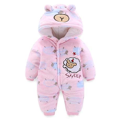 82d0cd906e9af BéBé Capuche Barboteuse Flanelle Hiver Combinaison Enfant GarçOns Filles  Mouton Dessin Animé Pyjamas Tenues (Rose