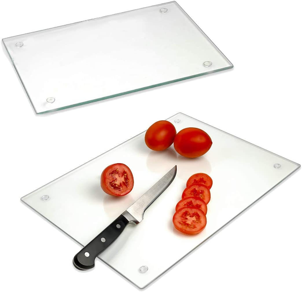 """Tempered Glass Cutting Board – Long Lasting Clear Glass – Scratch Resistant, Heat Resistant, Shatter Resistant, Dishwasher Safe. (2 Large 12x16"""")"""