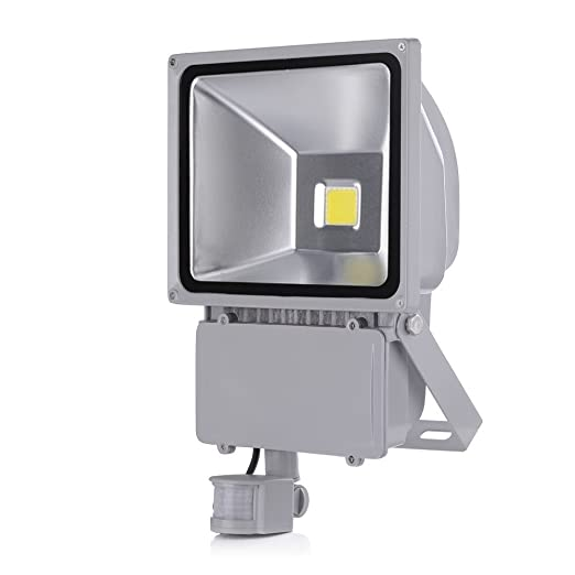 SAILUN 100W Blanco frío Foco LED Floodlight Led Foco IP65 con Sensor de Movimiento Proyector Led para Exterior Iluminación Decoración Aluminio Plata