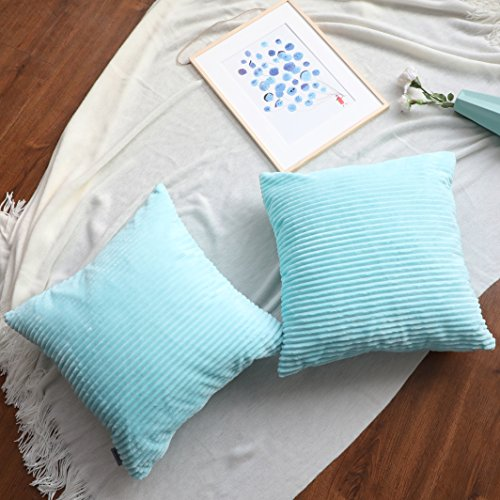 ALPHA HOME Decorative Throw Pillow Covers Set of 2 Soft Striped Corduroy Cushion Covers - 18