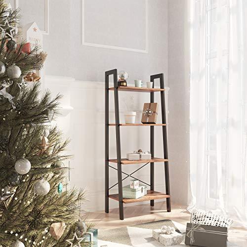 SONGMICS Vintage Ladder Shelf, 4-Tier Bookshelf, Storage Rack Shelf Unit, Bathroom, Living Room, Wood Look Accent Furniture Metal Frame ULLS44X