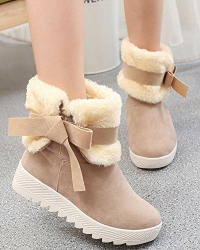 Minetom Damen Winterstiefel Mädchen Warm Plüsch Kurzschaft Schneeschuhe Schneestiefel Mode Bowknot Rutschfest Stiefel Flache Schuhe Khaki