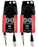 2 Hosa HSX-005 5 Foot Rean 1/4'' TRS To XLR 3 Pin Male Speaker Cables