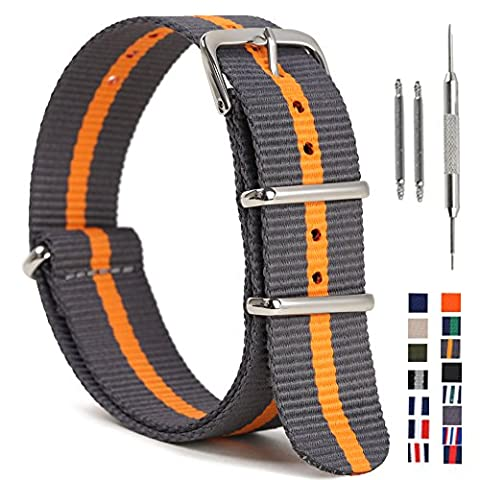 SIMCOlOR Nato Watch Band,Nylon Replacement Watch Strap with Stainless Steel Rings 16mm 18mm 20mm 22mm 24mm for Man and (Watch Strap Ring)