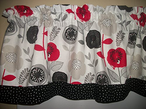 Retro Red Flower Black Polka Dot modern fabric kitchen topper curtain Valance