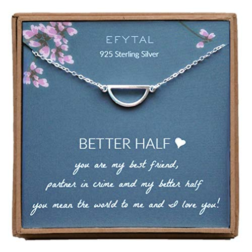 (EFYTAL Anniversary Gift for Girlfriend / Wife, Sterling Silver Half Circle Necklace For Her, I Love You)