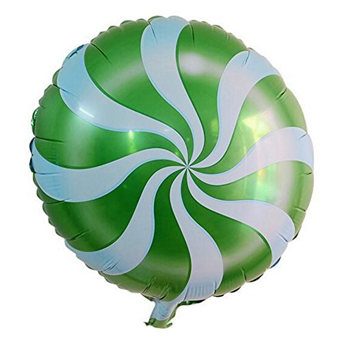 Lanlan 1PCS 18 Inch Foil Balloons Round Candy Lollipop Valentines Wedding Anniversary Party Favor Decoration Photography Props Activities Amusements Play Balls Game Toys Repeatable Use Green