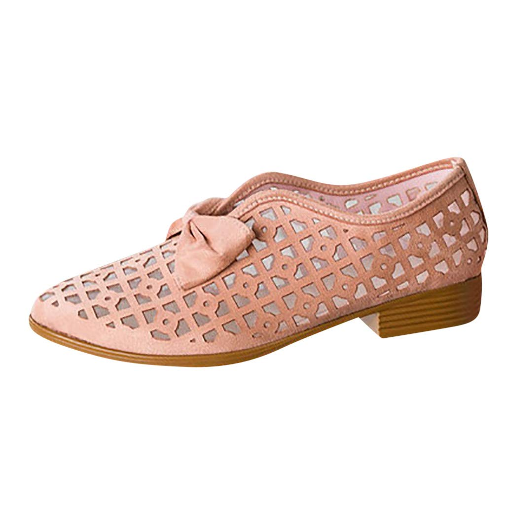 Women's Casual Sandals,2019 Summer Fashion Retro Breathable Hollow Low-Heeled Bow Shallow Sandals Beach Slip-On Shoes (6, Pink)