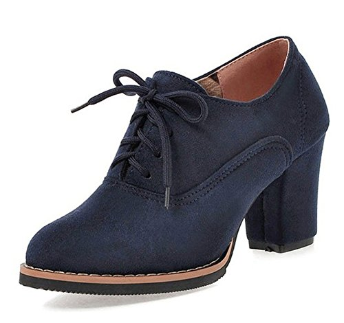 Aisun Women's Simple Pointed Toe Dress Wear To Work Lace Up Oxfords Shoes Block Mid Heel Ankle Booties (Blue, 8 B(M) US) (Sexy High Heeled Shoe Oxford)