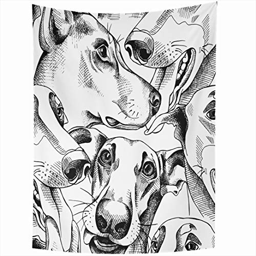 Greyhound Tapestry - Ahawoso Tapestry 60x90 Inch Pinscher Greyhound Pattern Character Dog Friend Puppy Black White Doberman Cute Wall Hanging Home Decor for Living Room Bedroom Dorm