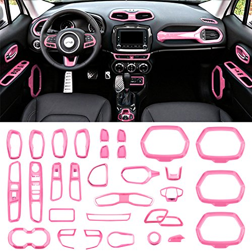 Danti Car Interior Accessories Decoration Trim Air Conditioning Vent Decoration & Door Speaker & Water Cup Holder & Headlight Switch & Window Lift Button Covers Jeep Renegade 2015-2018 (Pink)