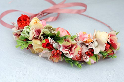 Flower Girl Headpiece For Wedding Floral Crown Ivory Hair Wreath Women Boho Halo Ladies Hair Accessory