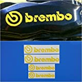 R&G Brembo 6 Piston & 4 piston High Temp Brake Caliper Decal Sticker Set of 4 (Yellow)