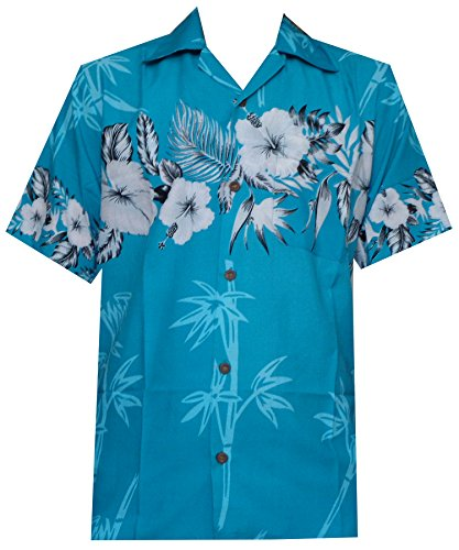 Hawaiian Shirt 35 Mens Bamboo Tree Print Beach Aloha Party Holiday Turquoise 3XL