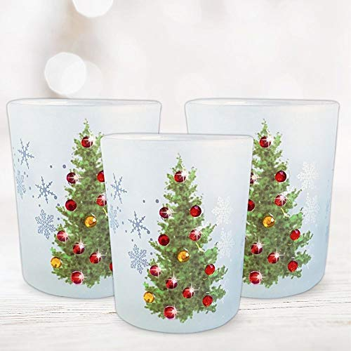 BANBERRY DESIGNS Christmas Tree Candle Holders - Set of 3 - Frosted Glass Holder with Red and Gold Jewels for Tree Decorations- Flameless Candles Included