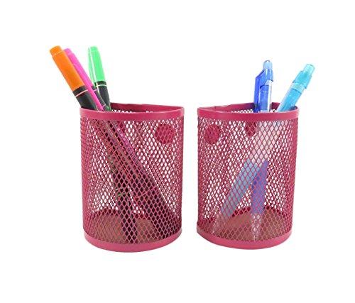 Half Moon Mesh Wire Pen Pencil Holder Magnetic 3 3/4 x 2 7/8 Neon Pink (Set of
