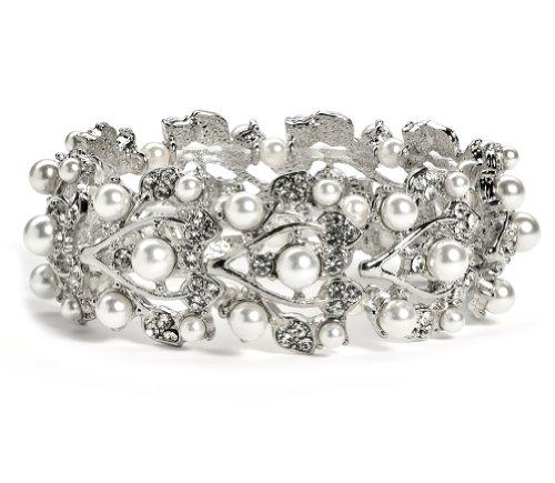 USABride Vintage White Simulated Pearl & Rhinestone Floral Vine Stretch Bracelet 696 White