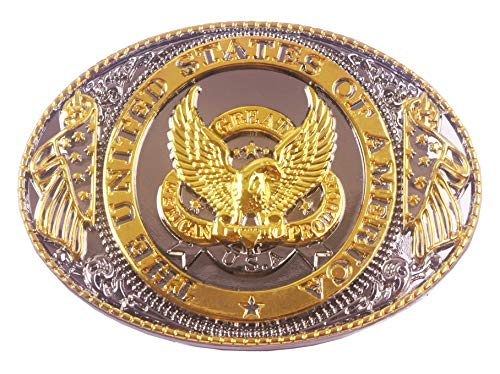 (Belt Buckles with Golden American Power Eagle Patriot Design Cowboy)