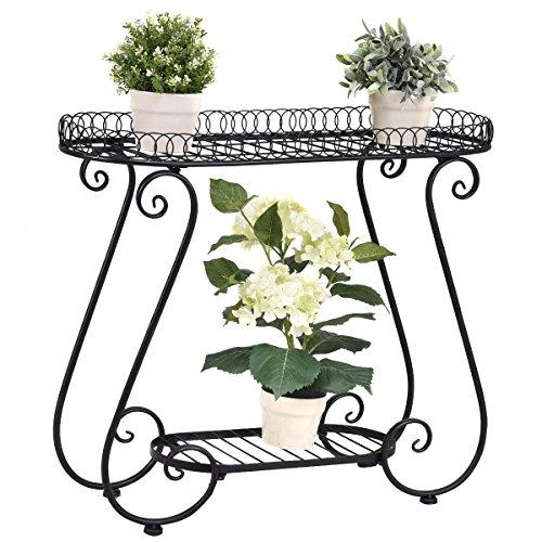 Flower Pot Plant Holder Display Rack Garden Cart Pots Metal Stand (Wrought Outdoor Planters Iron)