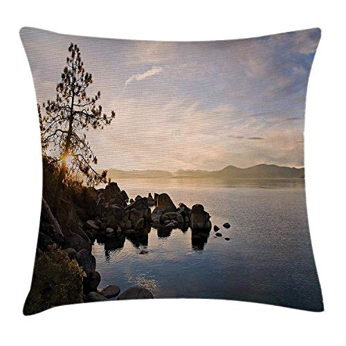 low Cushion Cover, Lake Tahoe at Sunset with Clear Sky and Single Pine Tree Rest Peaceful Weekend Photo, Decorative Square Accent Pillow Case, 18 X 18 inches, Blue Grey ()
