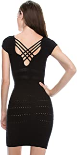 product image for Kurve Caged Back Cap Sleeve Bodycon Dress, UV Protective Fabric UPF 50+ (Made with Love in The USA)