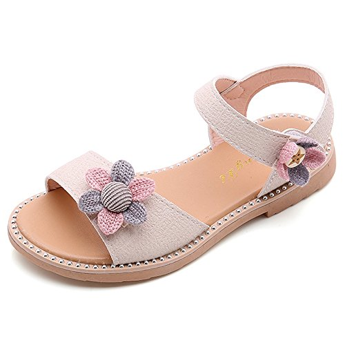 YING LAN Girl's Flower Princess Flat Sandals Summer Open Toe Casual Beach Shoes (/Little Kid/Big Kid) Beige (Beige Kids Sandals)