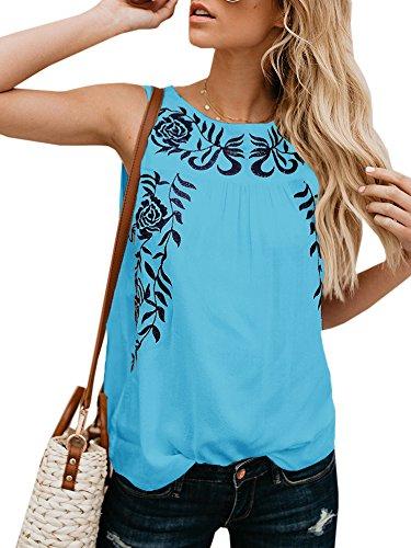 Faisean Womens Floral Print Bohemian Sleeveless Tank Tops Girls Casual Shirts
