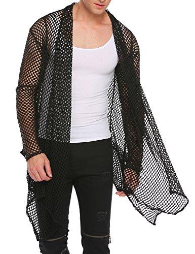 COOFANDY Men's Ruffle Shawl Collar Sleeveless Long Cardigan Vest (Large, Black(Long Sleeve net)) (Long Black Vest Men)