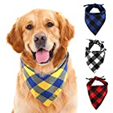 SLSON 4 Pack Dog Bandana, Plaid Printing Triangle Bibs Reversible Cotton Washable Scarfs for Pet Dog and Cat