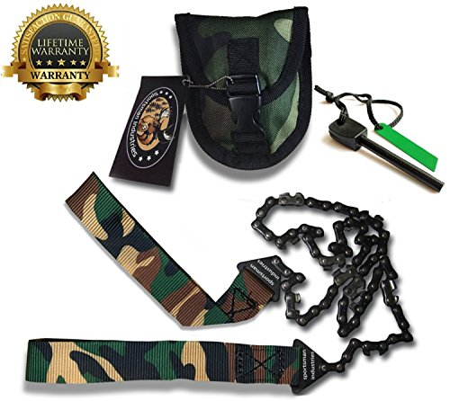 Sportsman Camouflage Pocket Chainsaw 36 Inches Long Chain Free Fire Starter. Best Folding Hand Saw Tool for Survival, Camping, Hunting, Tree Cutting or Emergency Kit. Replaces a Pruner & Pole Saw