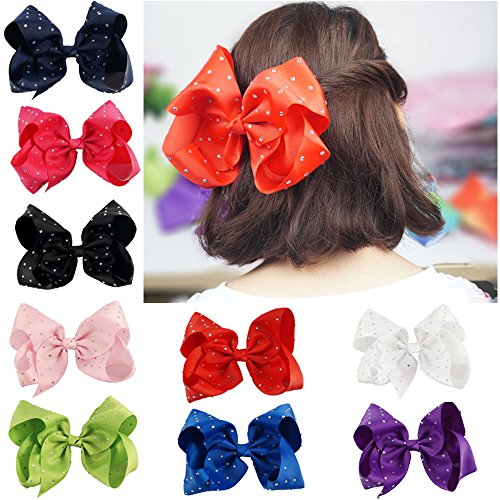 CN Large Hair Bows,8inch Grosgrain Ribbon Soild Color Huge Big Rhinestone Hair Bow For Girls Baby Pack of 9