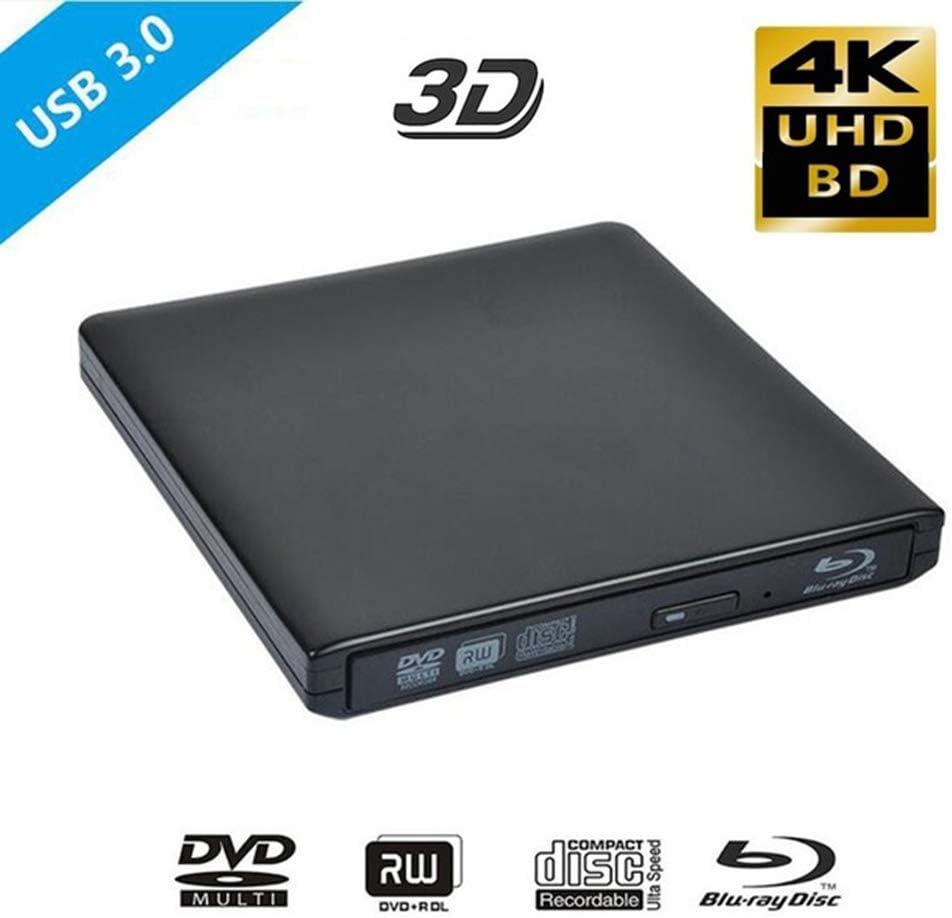 WUBAILI Unidad óptica Externa de BLU-Ray 4K, USB 3.0 Reproductor de BLU-Ray 3D Grabadora de grabadora BD-RE DVD +/- RW/RAM Unidades para computadora Windows 7/8/10,Negro: Amazon.es: Deportes y aire libre