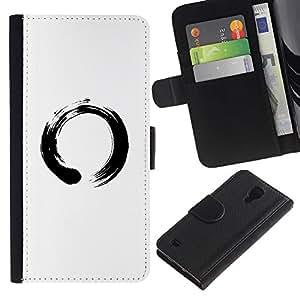 YiPhone /// Tirón de la caja Cartera de cuero con ranuras para tarjetas - Símbolo chino del Círculo - Samsung Galaxy S4 IV I9500