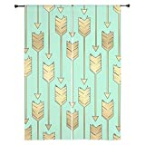 CafePress Boho Mint and Faux Gold Arrows 84'' Window Curtains, Shear Window Treatment