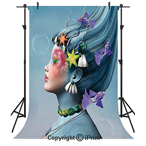 Mermaid Photography Backdrops,Woman with Underwater Themed Make Up Hairstyle Starfishes Seashells Fishes Bubbles,Birthday Party Seamless Photo Studio Booth Background Banner 6x9ft,Multicolor
