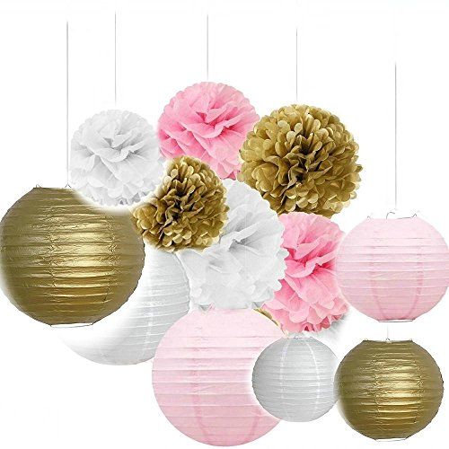 Since Set of 12 Mixed Gold Pink White Tissue Paper Pom Poms Flower Paper Lanterns Wedding Birthday Girl Baby Shower Party (Baby Shower Hanging Decorations)