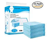 Disposable Changing Pads Mats, Soft and Waterproof Leak-Proof Breathable Disposable Underpads for Baby (18Lx13W,25Pads)
