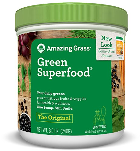 Amazing Grass Green Superfood, Original, Powder, 30 servings, 8.5oz Wheat Grass, Spirulina, Alfalfa, Acai, Maca, Flax Seed, Probiotic, Active Cultures, Vitamin K, Greens, Detox
