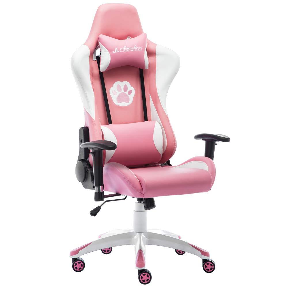 JL Comfurni ゲーミングチェア 無段階約180°リクライニング パソコンチェア デスクチェア クッション PUレザー ヘッドレスト付き 腰に優しい gaming chair オフィスチェア 通気性抜群 腰痛対策 ランバーサポート 肘掛付き 上下昇降機能 最大荷重120KG レーシングチェア JRC-A06PKW (ピンク 猫) B07KXHKX84 P-Pink